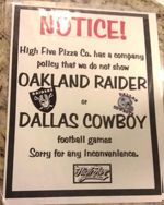 High Five Pizza -Refusing to play Raider Cowboy Games